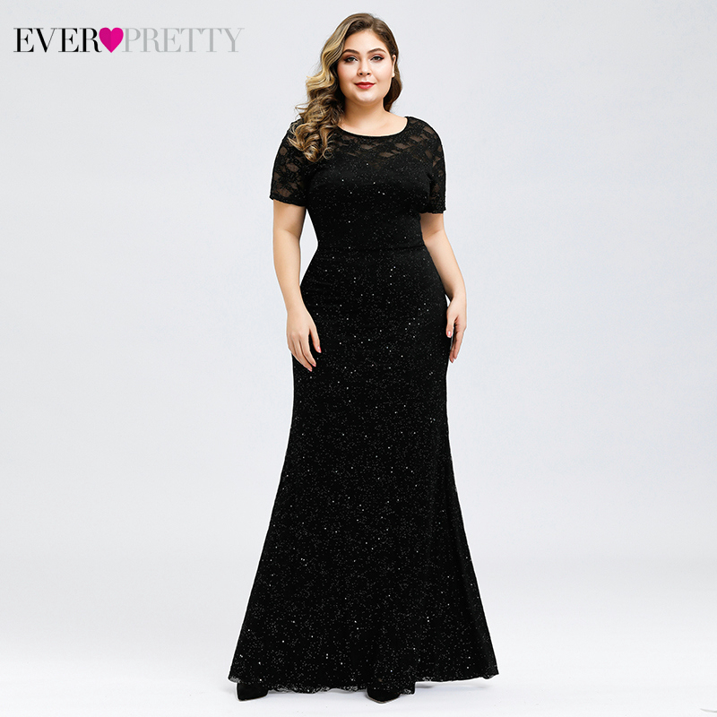 Sparkle Lace Evening Dresses Long Ever Pretty EP00836BK Short Sleeve O-Neck Elegant Mermaid Formal Dresses Vestidos Longo 2020