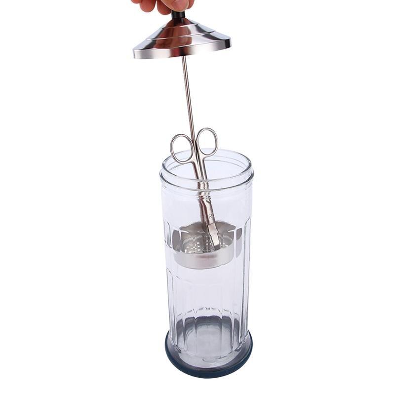 1PC Glass Sanitizing Bottle Hairdressing Tools Bottle Stainless Steel Lid Bottle Scissors Sanitizing Supply