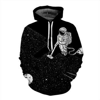 2020 Funny Design Hoody Astronaut Clean The Space 3D Sweatshirt Men/Women Long Sleeve  Hooded Tracksuit Black Hoodies pullover 1