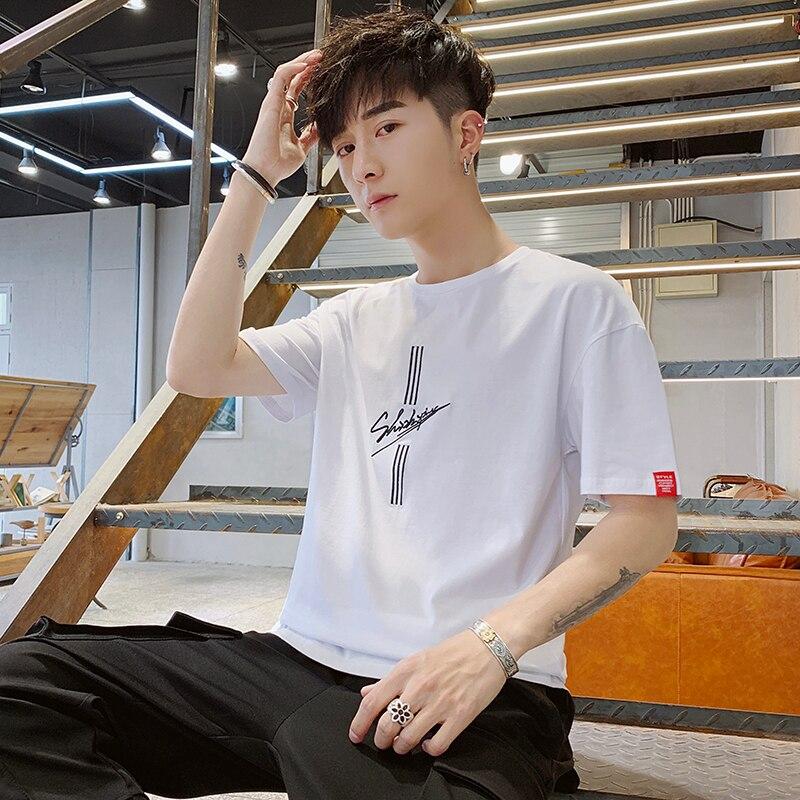 Dos homens de manga curta T-shirt do verão nova edição han maré 5 sete minutos de manga logotipo popular vento ins camisetas soltas roupas