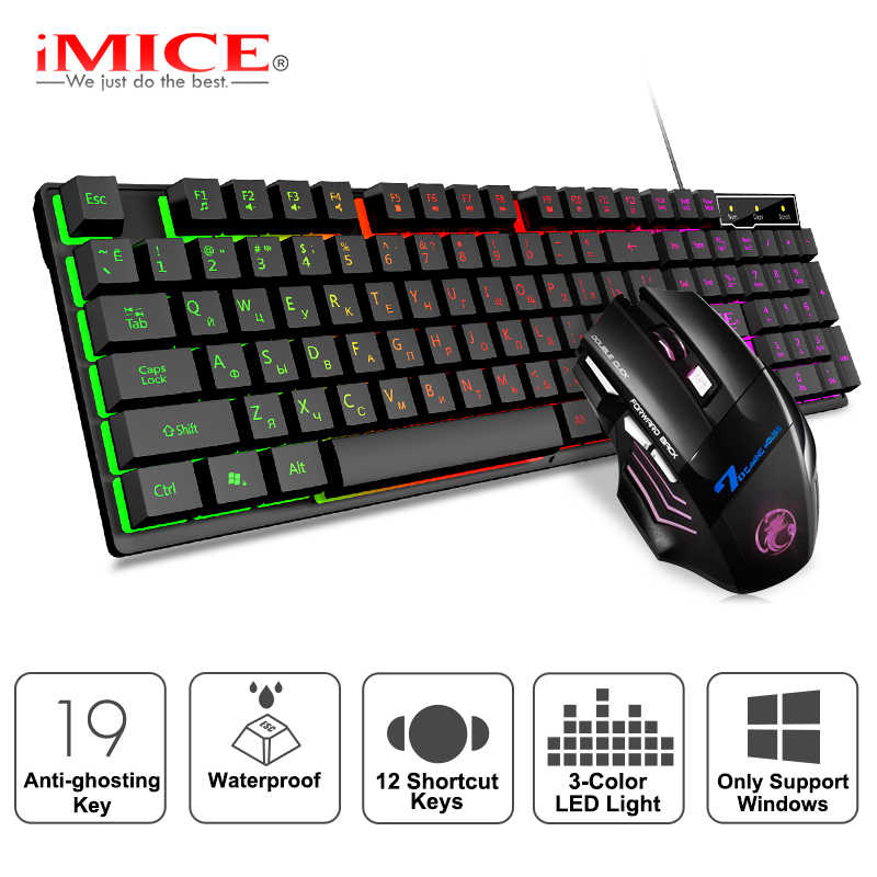Keyboard dan Mouse Gaming Kabel Keyboard dengan Lampu Latar Keyboard Rusia Gamer Kit 5500 DPI Diam Gaming Mouse Set untuk PC laptop
