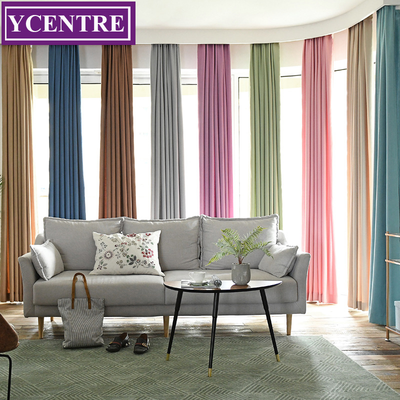 YCENTRE Back Velvet Window Treatment Thermal Insulated Solid Color Darkening Living Room Half Shading Curtain for Bedroom