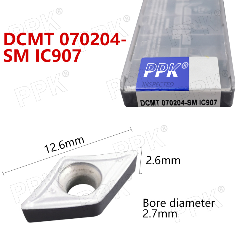 10PCS DCMT 070204- SM IC907 Internal Turning Tool CNC Carbide Insert Turning Tools Blade Cutter Lathe Blade