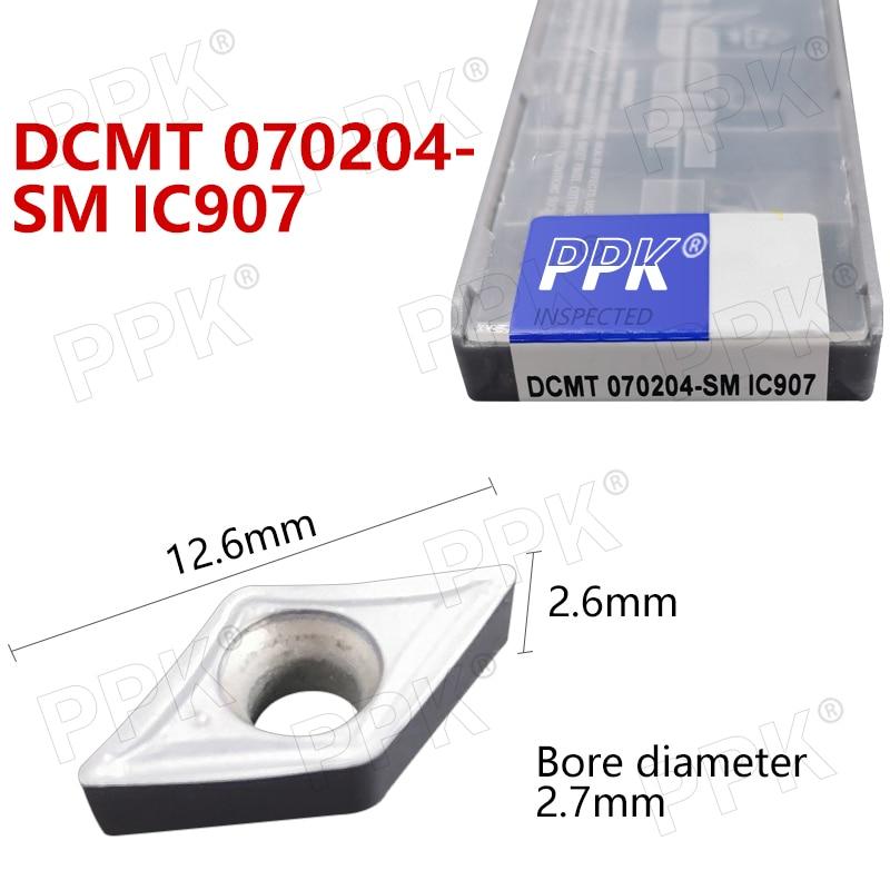 10PCS DCMT 070204- SM IC907 Internal Turning Tool CNC Carbide Insert Turning Tools Blade Cutter Lathe Blade