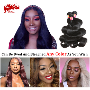 "Ali Queen Hair Brazilian Raw Virgin Human Hair Body Wave Weaves Bundles Natural Black Color 100% Human Hair Weaving 6"" to 34"""