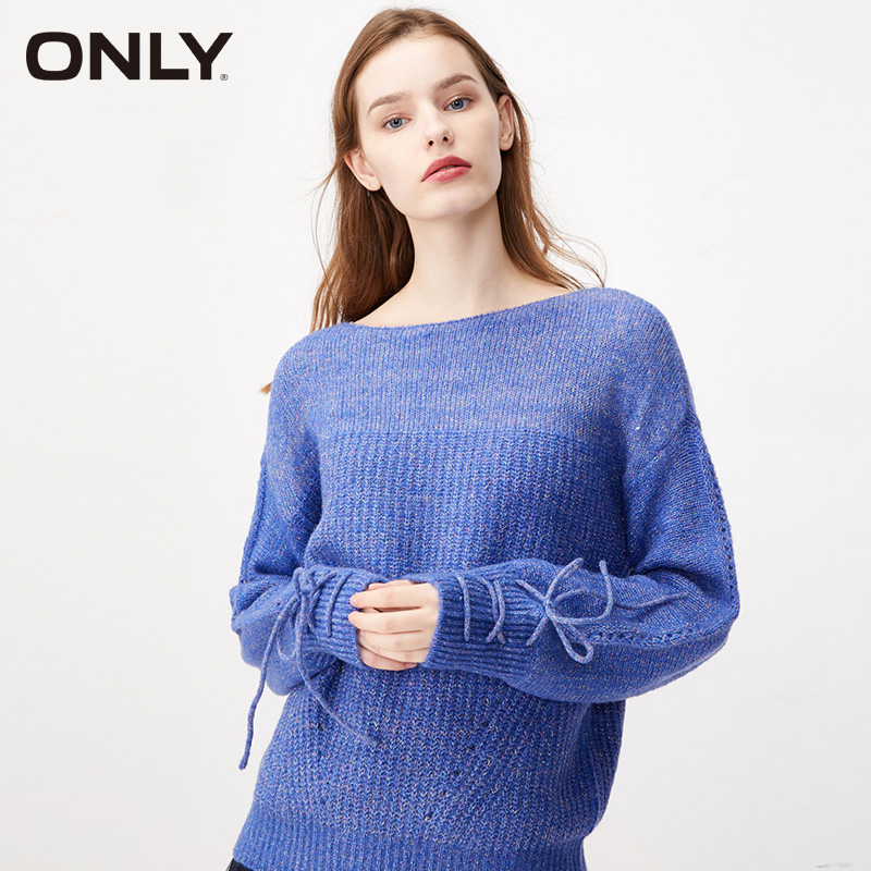 ONLY Color Bright Silk Belt Loose Fall Winter Sweater | 119324574
