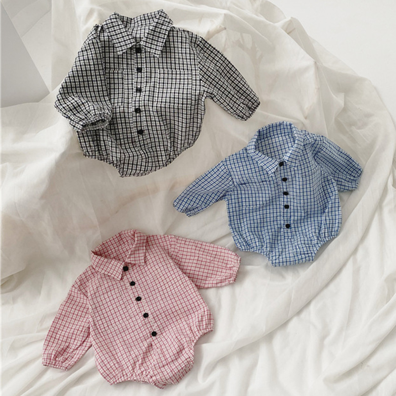 2020 New Fashion Newborn Baby Boys Girls Romper Korean Japan Style Toddler Long Sleeve Jumpsuit Outfits Baby Lattice Romper