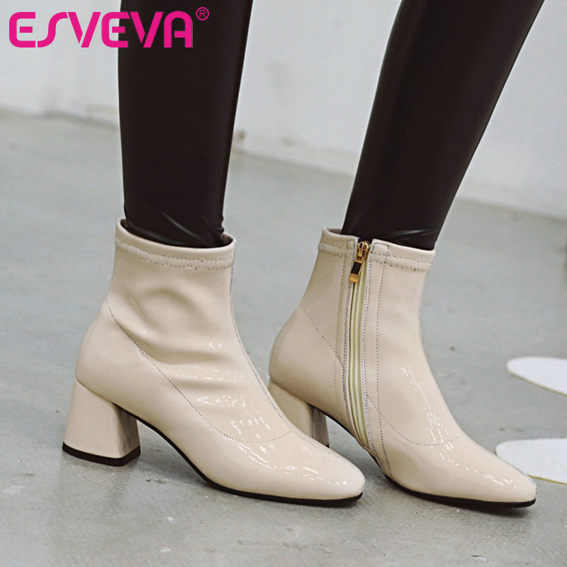 ESVEVA 2020 Women Shoes Ankle Boots Pointed Toe Elegant PU Leather Med Heel Zipper Motorcycle Platform Boot Size 34-43