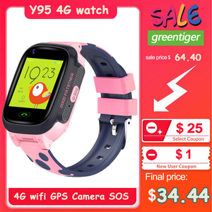 Image 1 - 4G ילדי של smartwatch חכם ילדים שעון תינוק GPS שעון IP67 warerproof smartwatch GPS wifi גשש SOS טלפון שעון y95 שעון