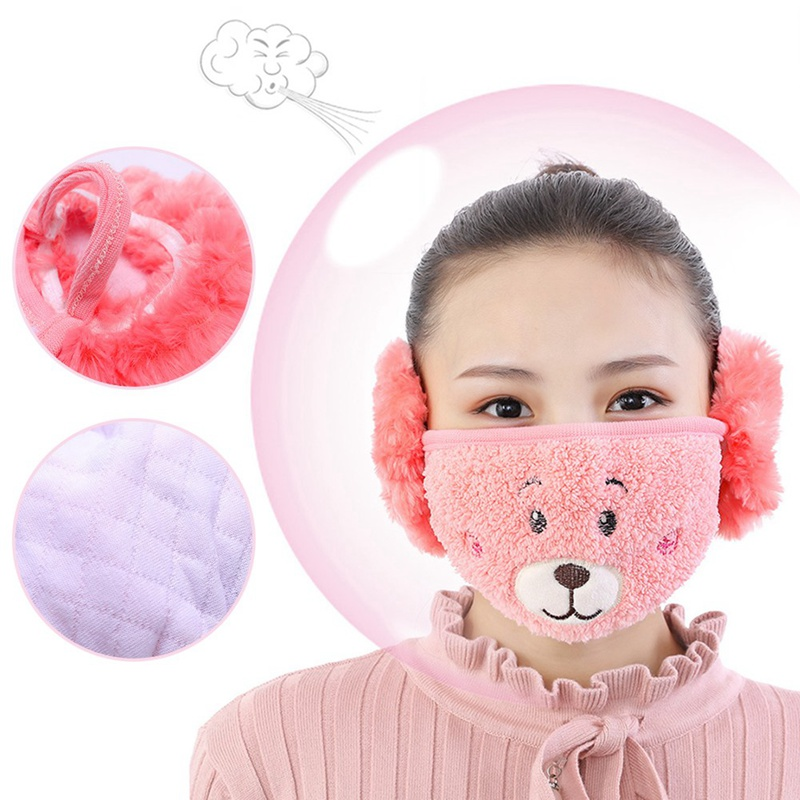 2019 Women Fashion Winter Cartoon Bear Fox Dust Winter Masks Ear Windproof Warm Child Face Mouth Cover