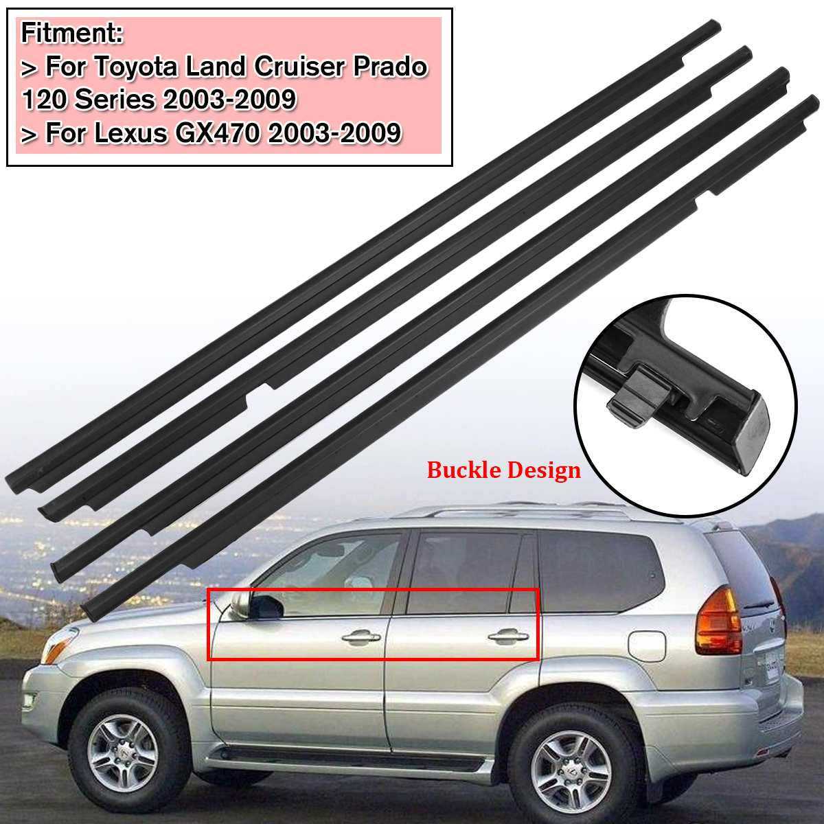 Weather-Strips Seal Door-Belts Land-Cruiser 2003-2009 Lexus Gx470 Toyota 120 Prado NEW title=