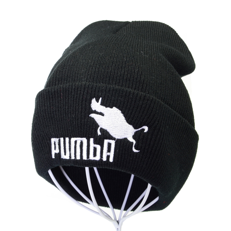 Funny Pumba Embroidery Knitted Hat Fashion Skullies Warm Winter Hats For Women Beanies Cap Homme Pumba Men Ski Hats Muts