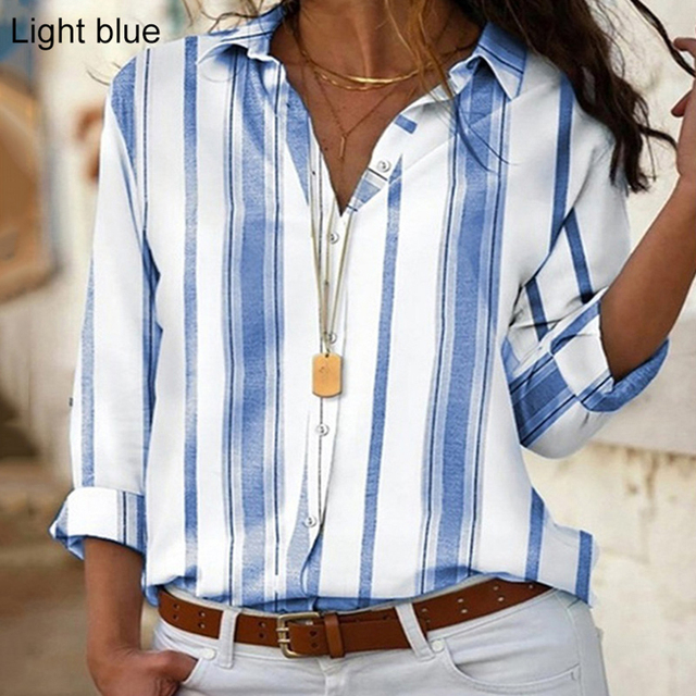 Spring Women Striped Blouse Shirt Chiffon Long Sleeve Turn Collar Female Top Chothes Casual Plus Size 5XL Loose Girls Blouses 5