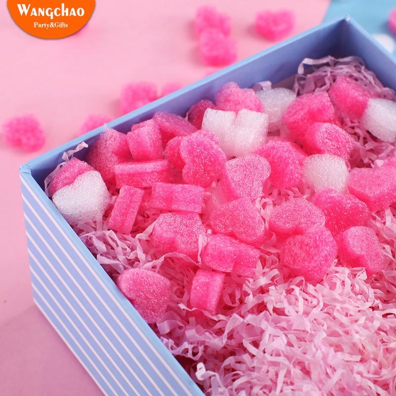 50pcs/bag Pink Mini Heart Love Beads Foam Strip Slime Gift Box Fluffy Slime Filler Sludge Clay Packing Wedding Flower Box Filler