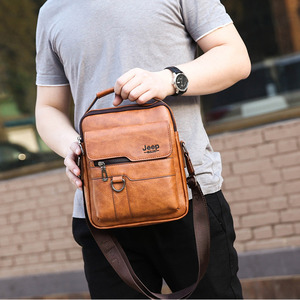 Image 1 - New Men Small Laptop Messenger Bags Mens Leather Shoulder Bag For IPAD Mini Tablet Man Crossbody Business Bags For Phone Wallet