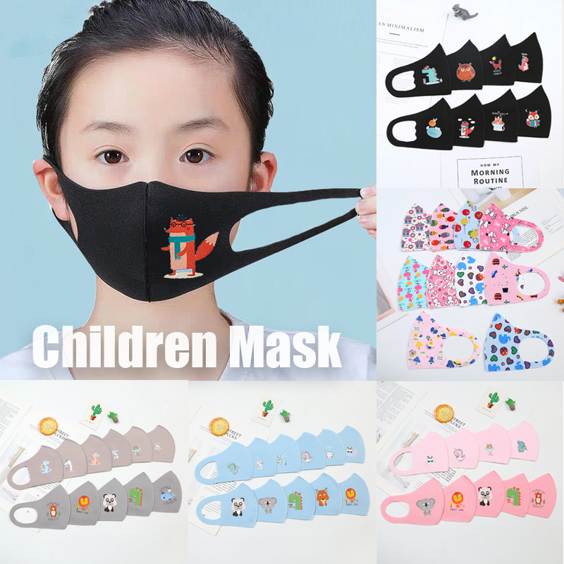 3PCS PM2.5 Children Anti-pollution Masks Boys Girls Cartoon Mouth Face Masks Kids Anti-Dust Breathable Earloop Washable Reusable
