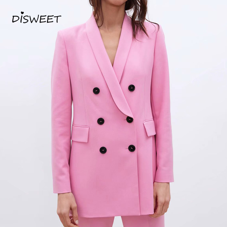 Autumn Pink Blazer Fashion Office Girl Suit Collar Long Sleeve Coat Elegant Double-Breasted Loose And Simple Long Blazer Woman