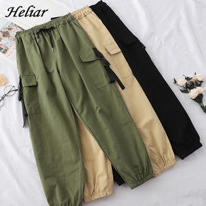 Heliar Autumn Cargo Pants Englend Style Loose Elastic Buttom Trouser Female Long Pants For Women 2019 Women Trouser With Pocket