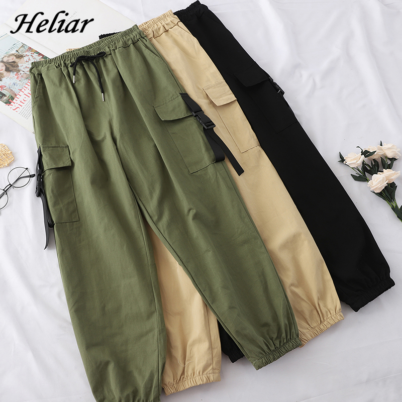 Heliar Cargo Pants Englend Style Loose Elastic Buttom Trouser Female Long Pants With Pocket Women Trouser For Women 2020 Autumn