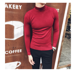 2019 Autumn New Men's Turtleneck Sweaters Male Slim Fit Solid Color High Neck Sweater Men Long Sleeve Knitted Pullover Tops 3XL