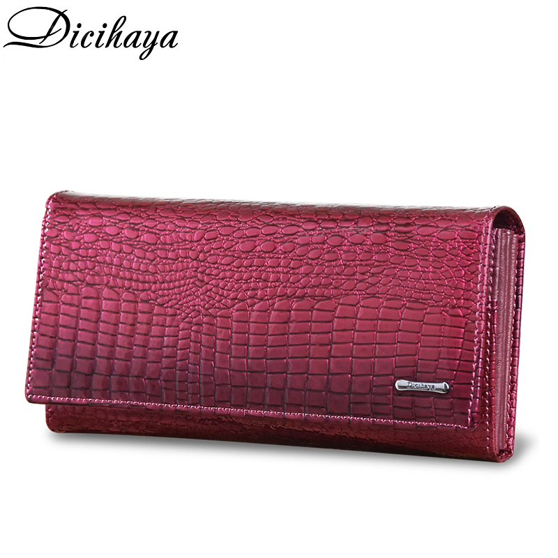 DICIHAYA Women Wallets Brand Design High Quality Real Leather Wallet Female Hasp Fashion Alligator Long Women Wallets And Purses