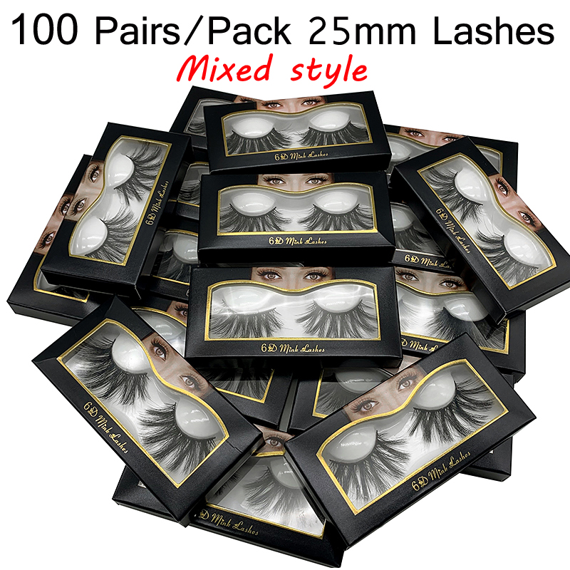 25mm Lashes Wholesale 20/30/50/100 Pairs 25 Mm False Eyelashes Thick Strip 6D Mink Lashes Makeup Dramatic Long Mink Eyelashes