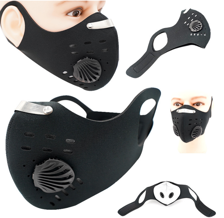 Activated Carbon Mask With Air Valve Windproof Warm Dust-proof Anti-fog Bike Air Valve Riding Mask  Filter Not  Sold Separately