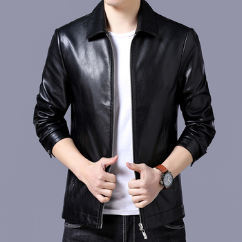 Business Casual lapel zipper Mens Casual Jackets Fashion Male Black PU Coat Long Sleeve jacket 1851