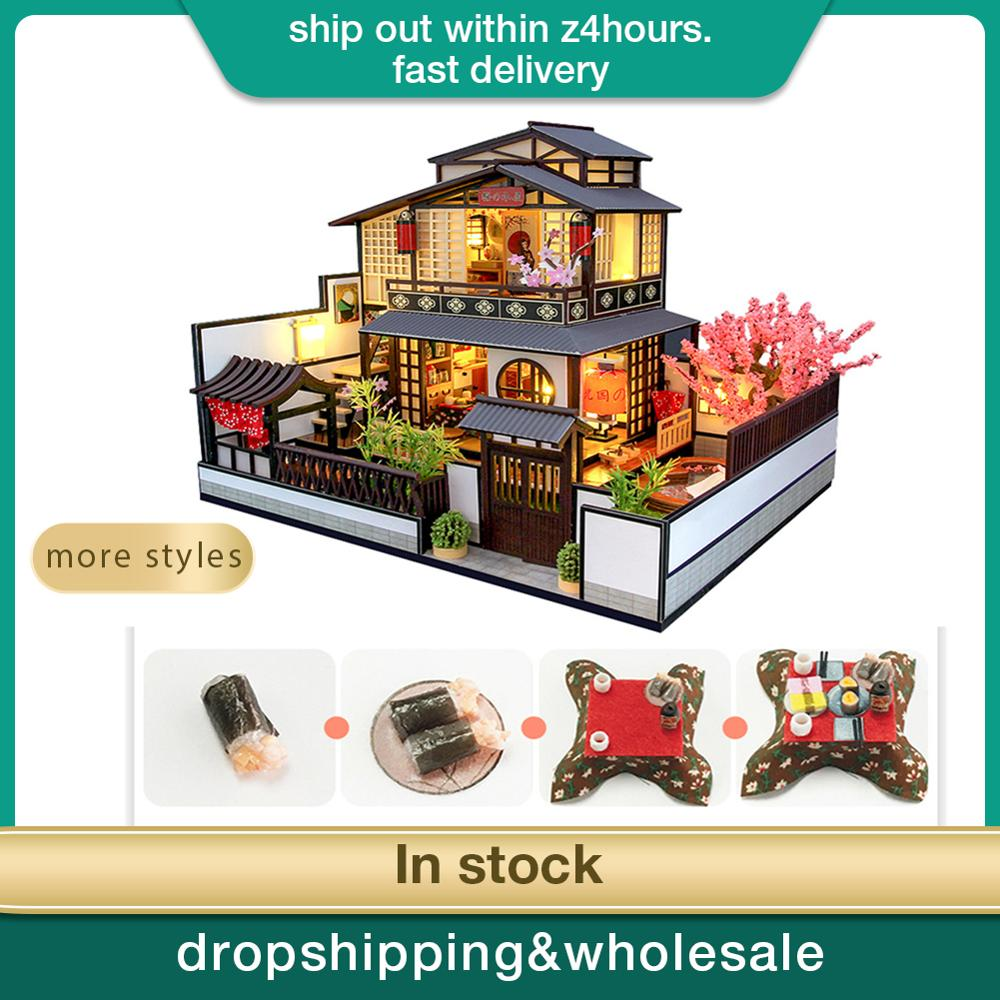 Japanese Style DIY Wooden Miniature Dollhouse 1:24 Handmade Doll House Model Building Kits Toys For Children Adult Drop Shipping