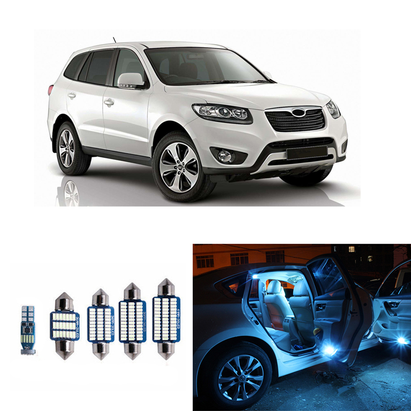 13pcs Interior Light T10 Fastoon Error Free White LED Kit For <font><b>Hyundai</b></font> <font><b>Santa</b></font> <font><b>Fe</b></font> 2007-2012 Car Map Dome Trunk License Plate Lamp image