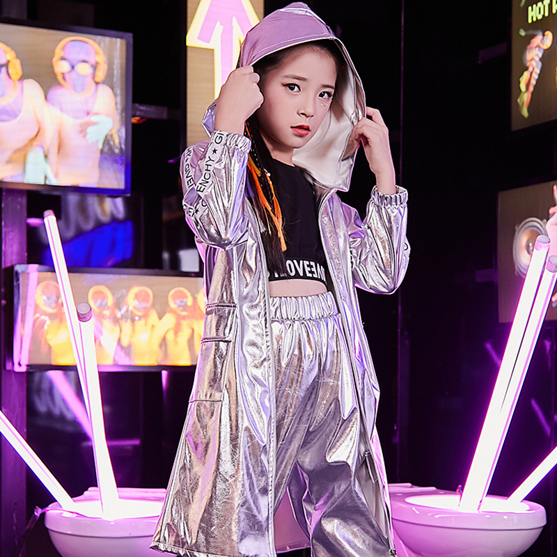 Girls Jazz Costumes Autumn Street Dance Clothes For Child Kids HipHop Long Sleeve Silver Jacket Pants Cheerleading Wear DQL2680