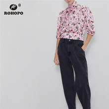 ROHOPO White Daisy Red Rose Floral Elegant Pullover Pink Blouse Lapel collar Tunic Half Sleeve Baggy Printed Top Blusa #6480