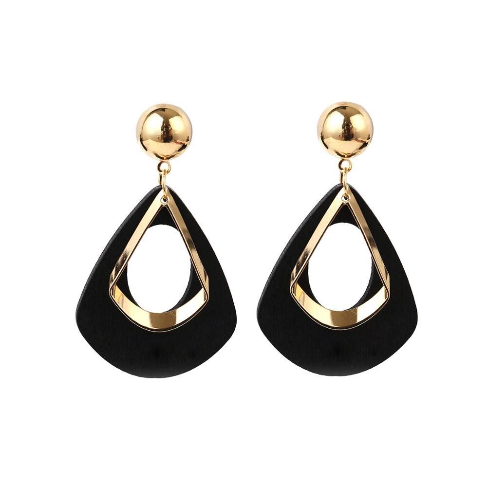 Simple wild long geometric temperament earrings retro water drops wooden wild net red exaggerated female jewelry earrings jewelr
