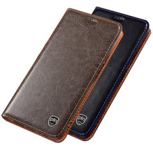 Genuine leather magnetic flip cover card holder for Motorola Moto P50/Motorola Moto P40/Motorola Moto P30 holster cover coque(China)