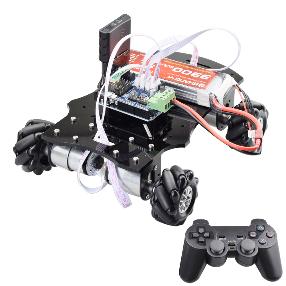 PS2 Handle/Bluetooth RC Control 5KG Load Mecanum Wheel Robot Car Chassis Kit With 4pcs Encoder Motor UNO R3 Program STEM Toy