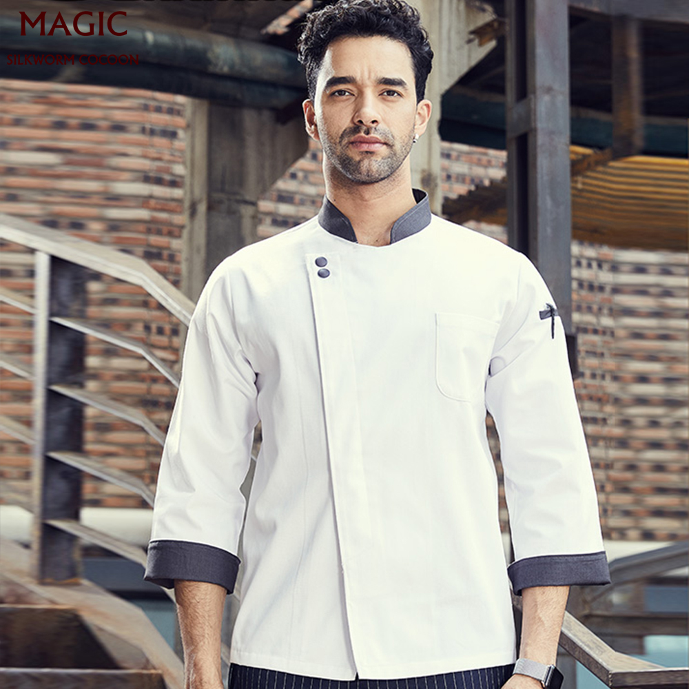 Men Women Long Sleeves Restaurant Uniform Kitchen Chef Jacket Uniforms Full Sleeve Cook Dress Food Services Hotel Chef Overalls