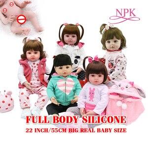 ビッグ本物のベビーサイズ 55 センチメートルソフトシリコーンリボーン幼児ガールプリンセス人形バス人形おもちゃ bonecas 女の子 menina デシリコーン