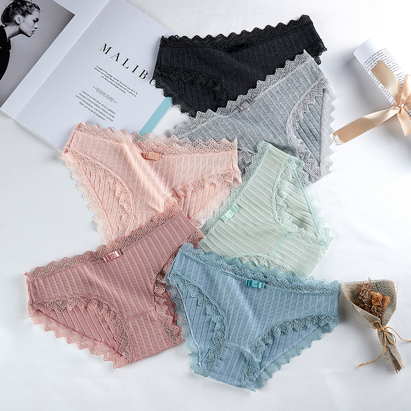 Japanese cute cotton girl underwear Low waist ladies thread underwear Lace seamless briefs women