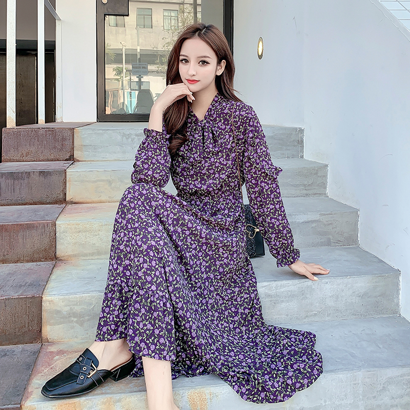 2019 Women Long dress Slim Print Full Sleeve Waist Knees Which Render Dresses Purple Flower Huanghua <font><b>3601</b></font> image