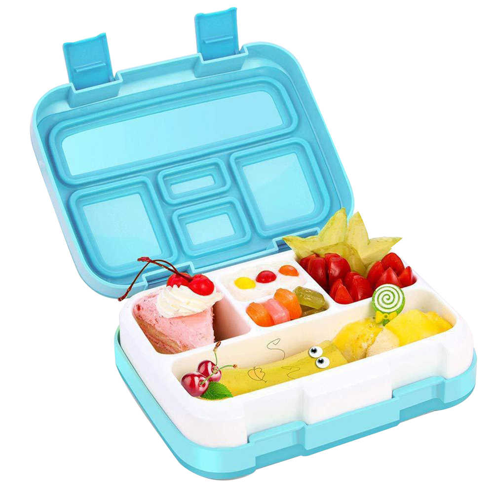 Portable Multiple Grids Dinnerware Lunch Box Student Kids Clamshell Bento Children School Food Storage Container Rectangular
