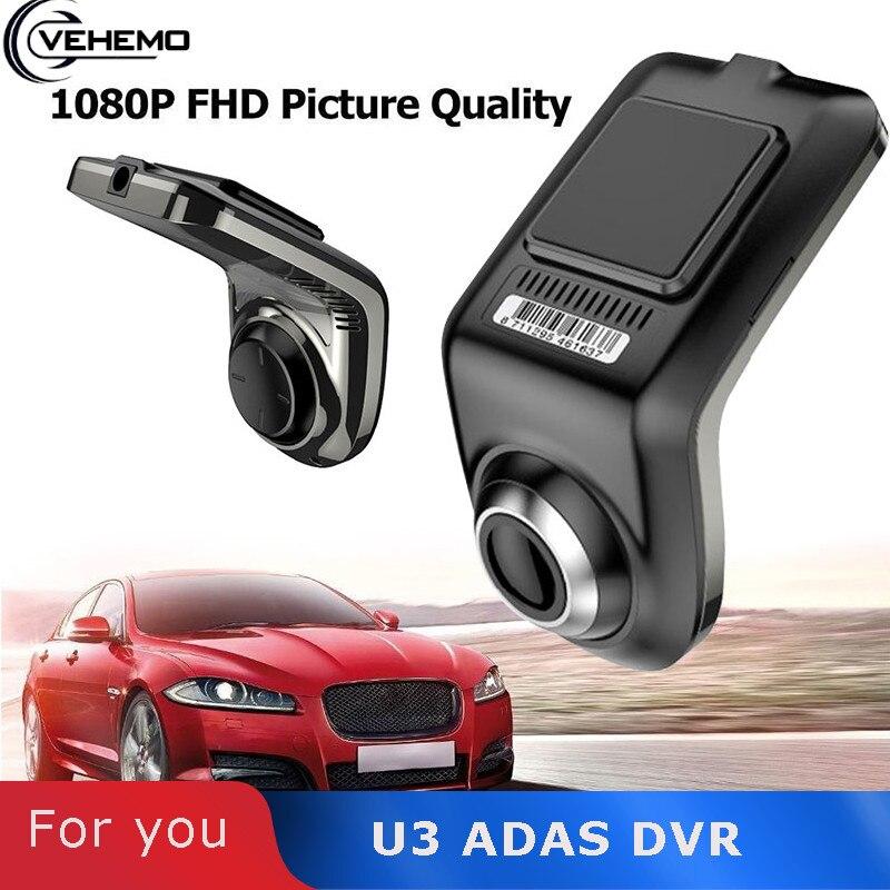 U3 coche Cam Dash grabadora de Video de la visión nocturna de la Cámara G-Sensor automóviles USB DVR ADAS Para Auto Multimedia grabadora de conducción de cámara