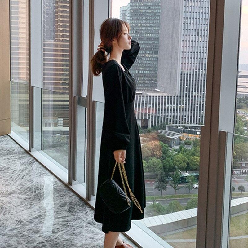 Français restauration antique col carré couleur Pure robe 2020 printemps nouveau modèle femmes simple boutonnage manches longues robe de loisirs - 4