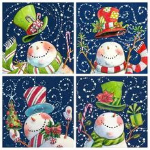 Christmas Diamond Painting Snowman Full Square/Round Drill Winter Embroidery Cartoon Home Decor Gift