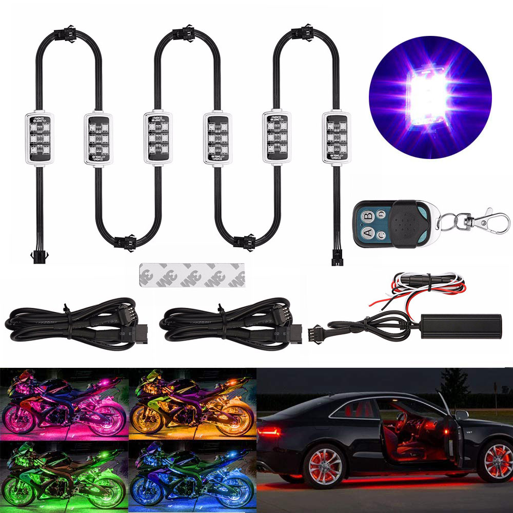Motorcycle LED Light RGB Neon Moto Led With Wireless Remote Control Smart Brake Lights Waterproof IP65 Decorative Strip Lamp Kit