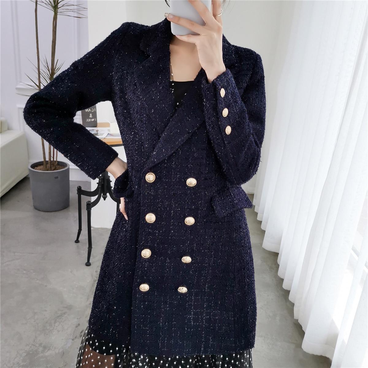 Autumn Vintage Double Breasted Woollen Tweed Blazers Coat Women 2019 Fashion Ladies Outerwear Casual Casaco Femme Plus Size 5XL