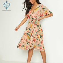 CUERLY 2019 Boho dress women deep V-neck sexy dresses summer fashion flower print ruffle sleeve big pendulum pleated vestidos sun flower print pleated dress