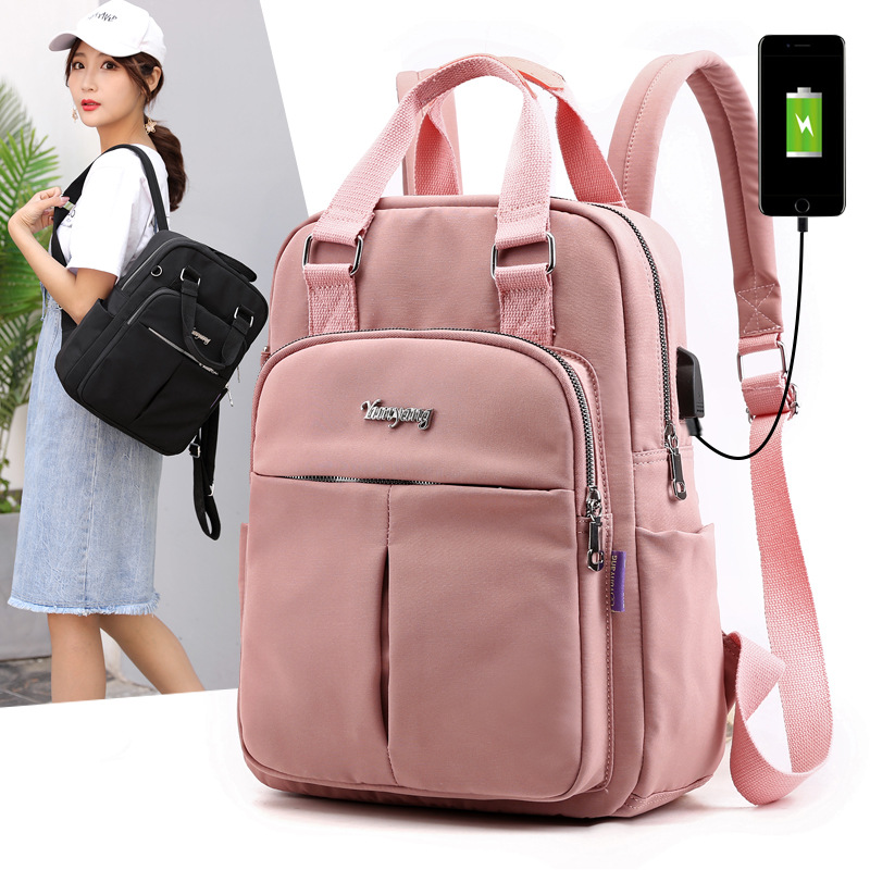 Large Capacity Women Backpack Girls Shoulder Bag USB Charging Travel Backpack For Teenager Rucksack Mochila Feminina