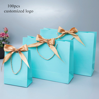 100x Paper Bag Gift Boxes Commodity Packaging Handbag Customize Logo With Frame ,Shopping Promotion Bags Wedding Gifts Wrapping