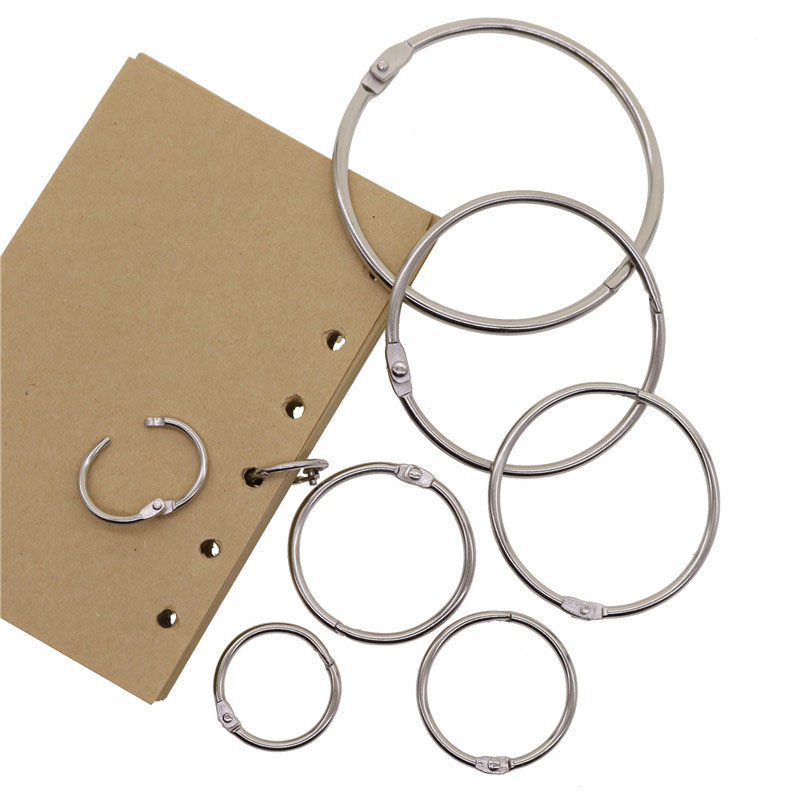 High Quality 2Pcs Metal Loose Leaf Book Binder Hinged Rings Keychain Album Ring Scrapbook Binders Craft Photo Album Split
