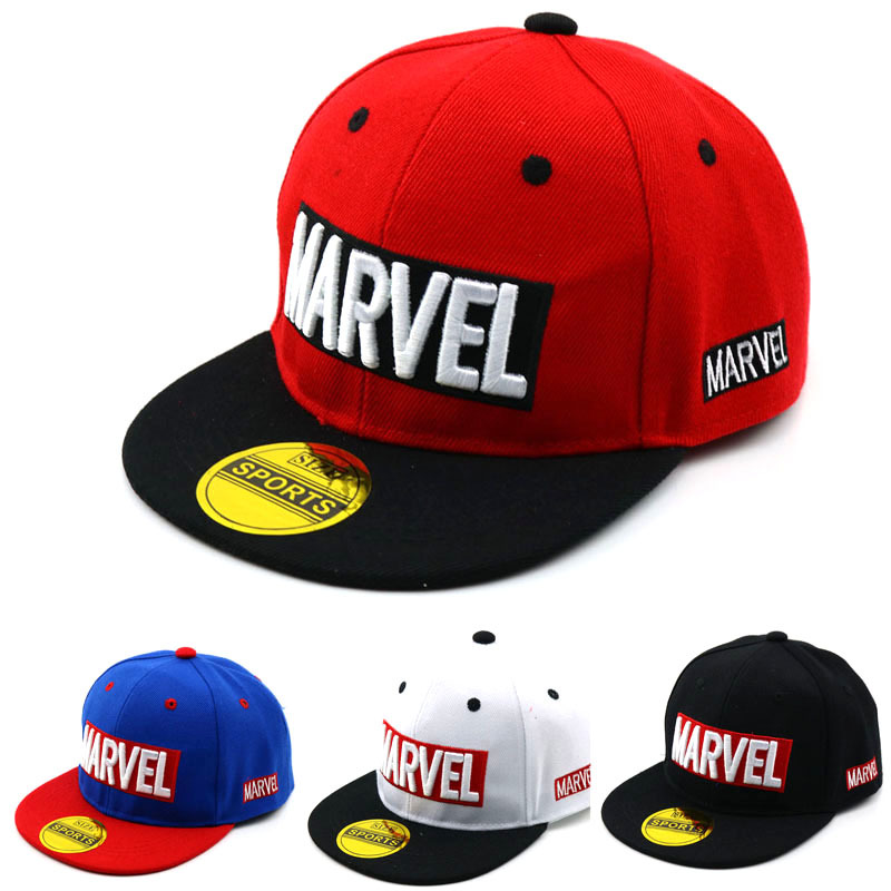 New Children's Marvel Embroidered Baseball Cap Korean Version Trendy Children's Cap Spring Boys Girls Hip Hop Hat Casual Hats